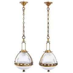 Pair of 1930s French Brass and Glass Pendant Lights