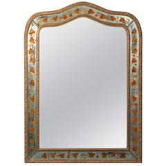 Giltwood and Reverse Painted Frame Mirror by Maison Jansen