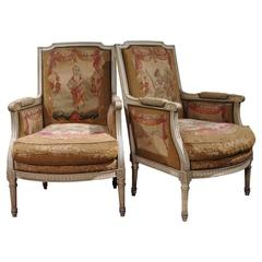 Pair of 19th Century French Louis XVI Painted Armchairs with Aubusson Tapestry