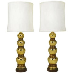 Pair of 1930s Gold-Plated Mirror Glazed Porcelain Quadruple Gourd Table Lamps