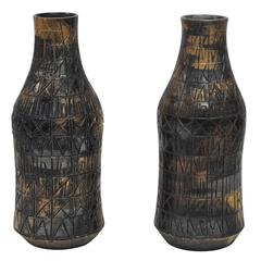 Raymor Bitossi Ceramic Vases Gunmetal Gold Platinum Incised Signed, Italy, 1960s