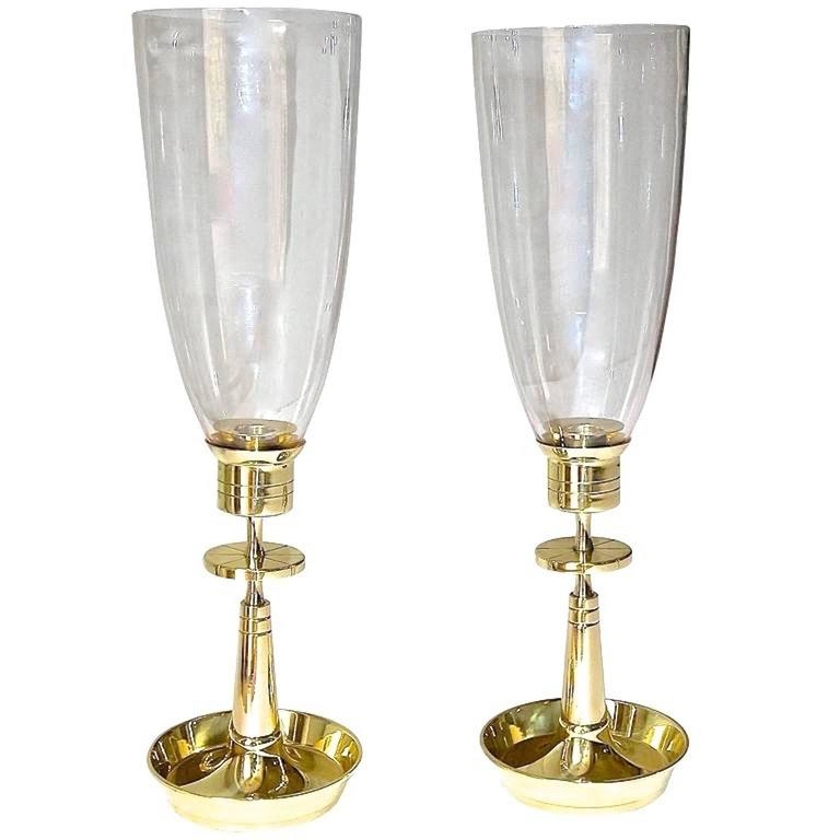 Pair Of Tommi Parzinger For Dorlyn Brass Hurricane Candle Lamps For Sale