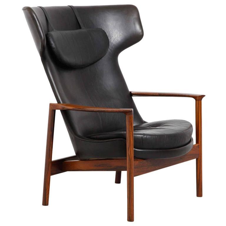 Ib Kofod-Larsen Wingback Rosewood Easy Lounge Chair