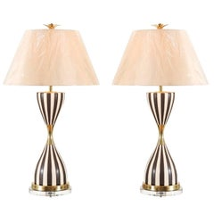 Sexy Pair of Restored Hand-Painted Hourglass Lamps in Chocolate and Cream
