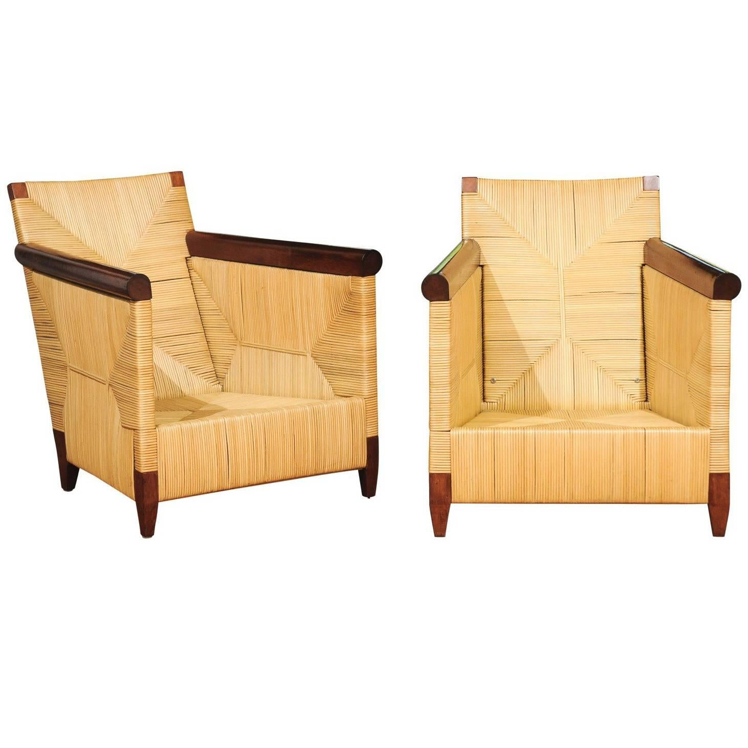 Superb Pair of Mahogany and Wicker Loungers by John Hutton for Donghia