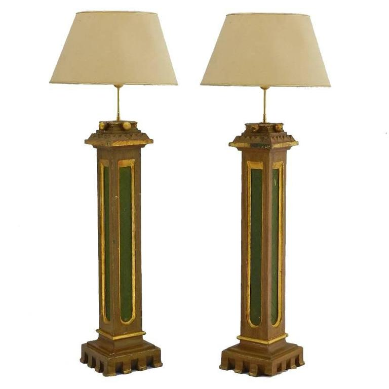 Pair Of Simple Church Lights For Sale: Pair Arts And Crafts Torchere Lamps Spanish Church