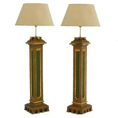 Pair of Torchère Lamps Spanish Church Original Painted Columns, 19th Century