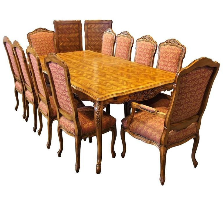 Fremarc Designs Custom Dining Set With Parquetry Top Table For Sale