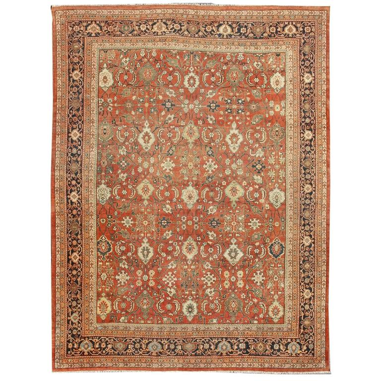 Large Antique Sultanabad Persian Rug With Sub Geometric Design For