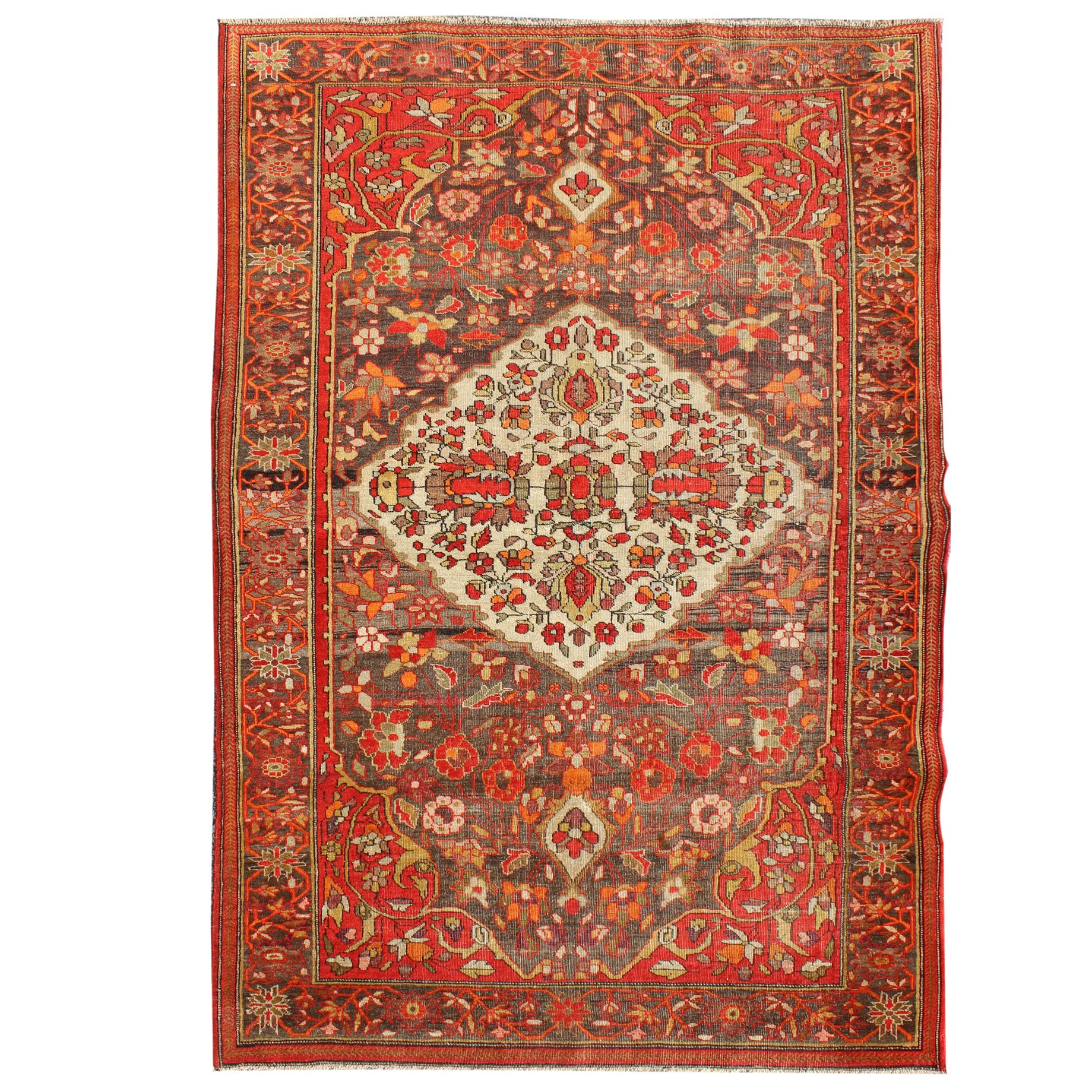 Vintage Persian Sarouk Rug With All Over Floral Design In Rich