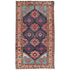 Antique Persian Malayer Carpet with Sub-Geometric Floral Design