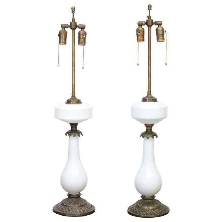 Elegant Electrified Milk Glass / Brass Oil Lamps As Table Lamps For Sale