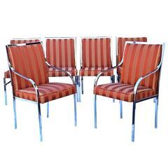 Six Pierre Cardin Chrome Mid-Century Modern Dining Milo Baughman Style Chairs
