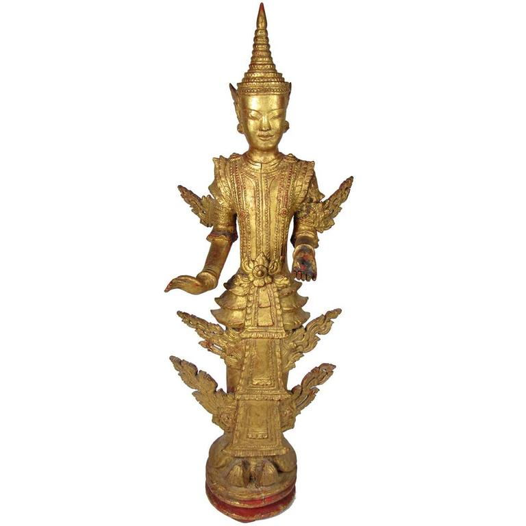 Antique Thai Gilt Wooden Figure of a Standing Buddha For Sale