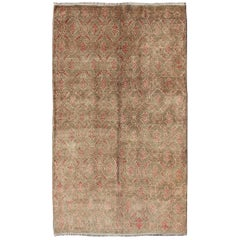 Turkish Tulu Rug with All-Over Repeating Design in Light Green, Red and Cream