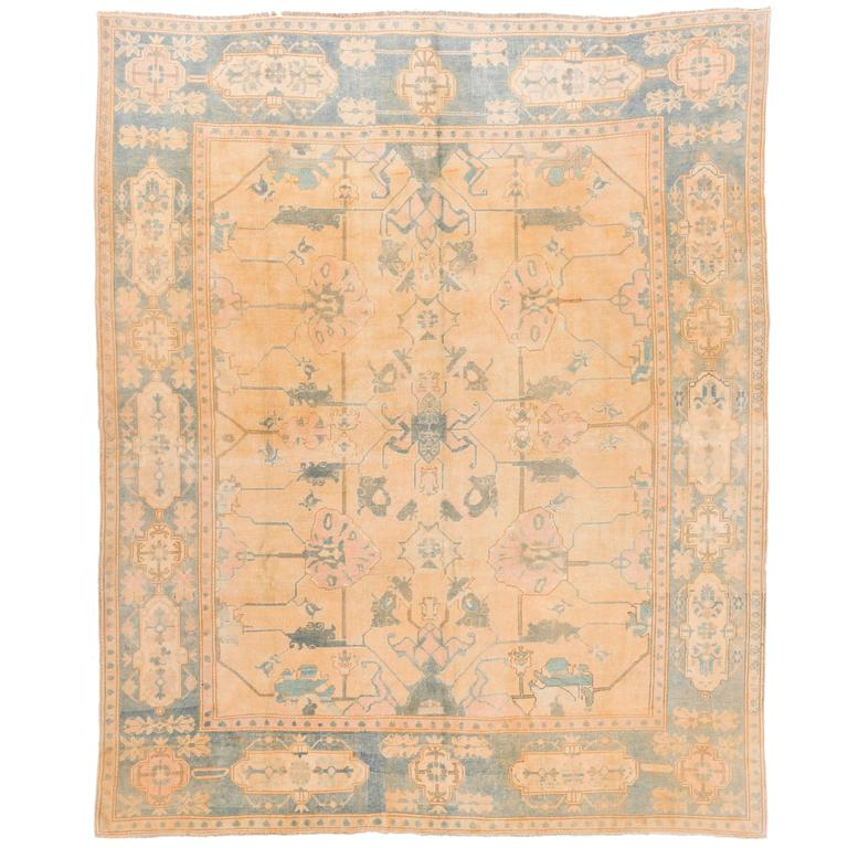 Fantastic Oushak Rug In Orange, Pink, Aqua Blue Green At