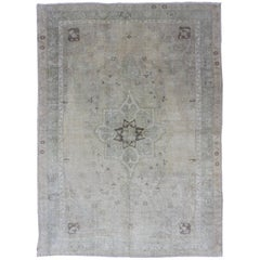 Muted Turkish Oushak Carpet with Center Medallion Design in Grey, Sand & Taupe