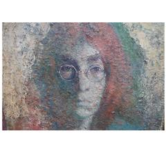 Painting Depicting John Lennon Signed by Vladimir Suchy