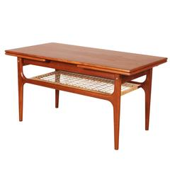 Mid-Century Modern Teak Coffee Table with Two Leaves