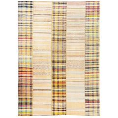 Striped Cotton Kilim, Flat-Weave Rug