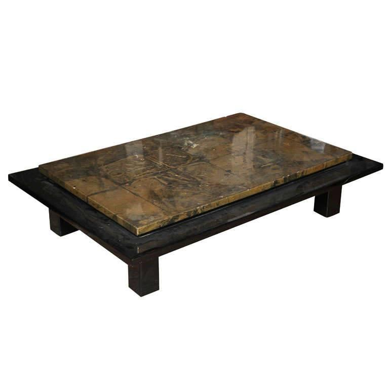 Large Gold Coffee Table Tray: Large Gold And Black Lacquered Tiered Sofa Table For Sale