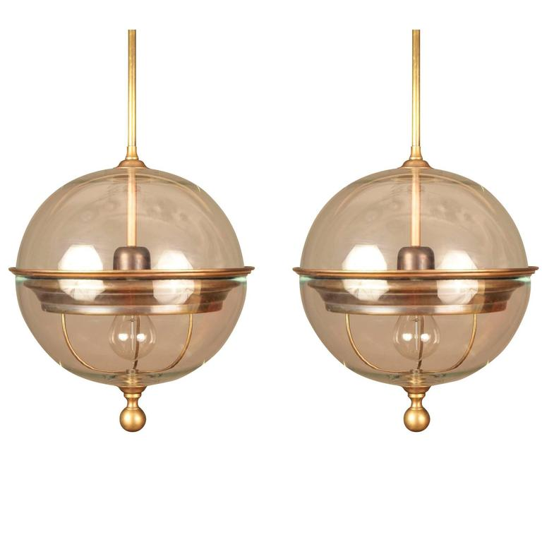 Pair Of Brass Trim Glass Globe Pendant Lights Italy Contemporary For Sale
