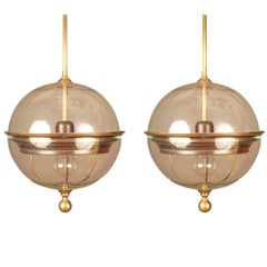 Pair of Brass Trim Glass Globe Pendant Lights, Italy, Contemporary