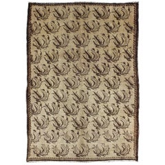 All-Over Floral Design Turkish Rug in Shades of Brown