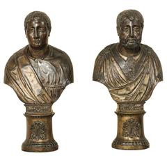 Pair of Italian 19th Century Roman Senator Busts of Repoussé Copper or Wood