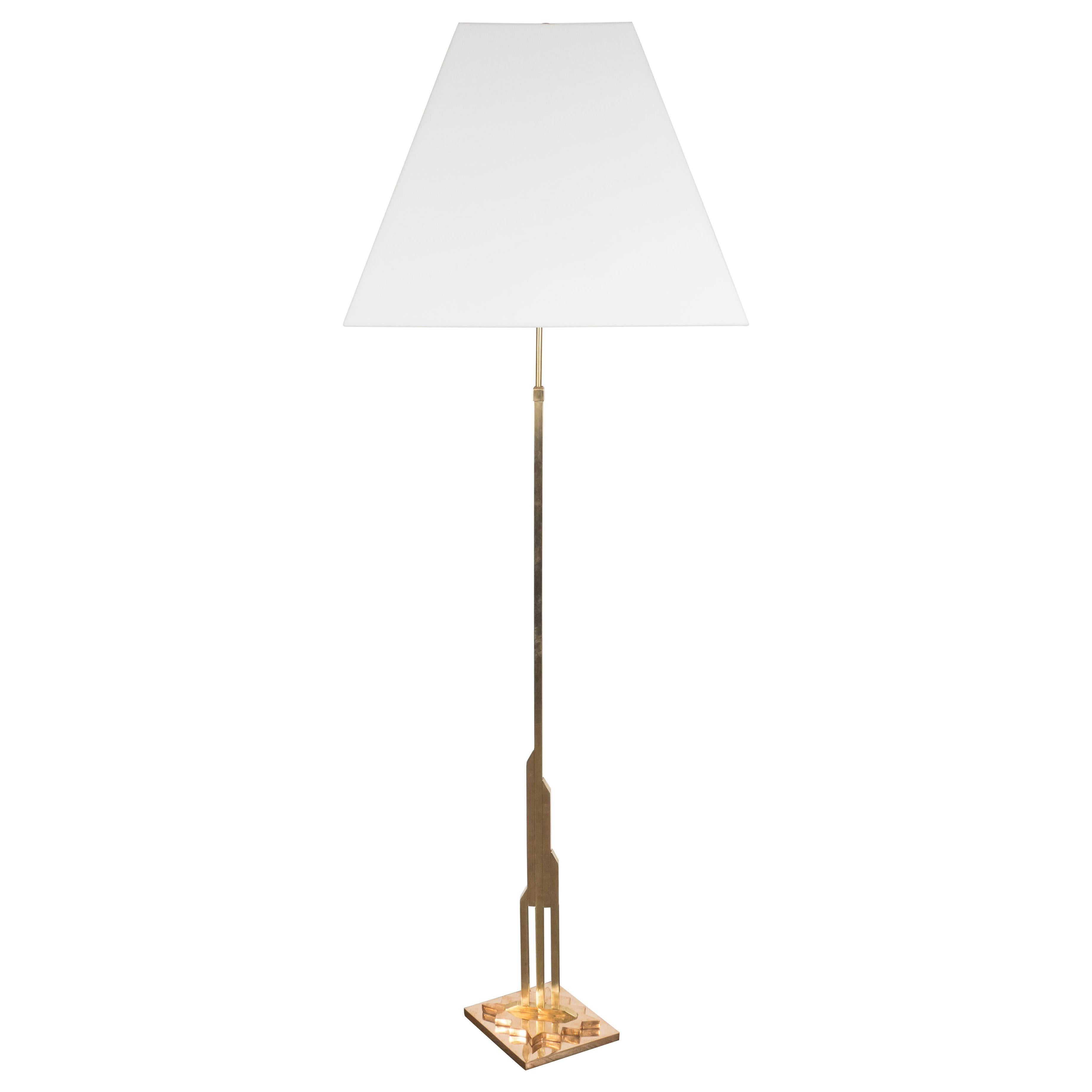 Mid-Century Modernist Floor Lamp in Polished Brass with Custom Lucite Shade
