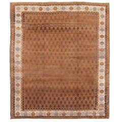 Vintage Turkish Kars Rug with Modern Style in Chocolate Brown