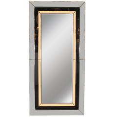 Modernist Hand-Beveled Shadowbox Mirror with Pale Smoke Citrine & Vitrolite