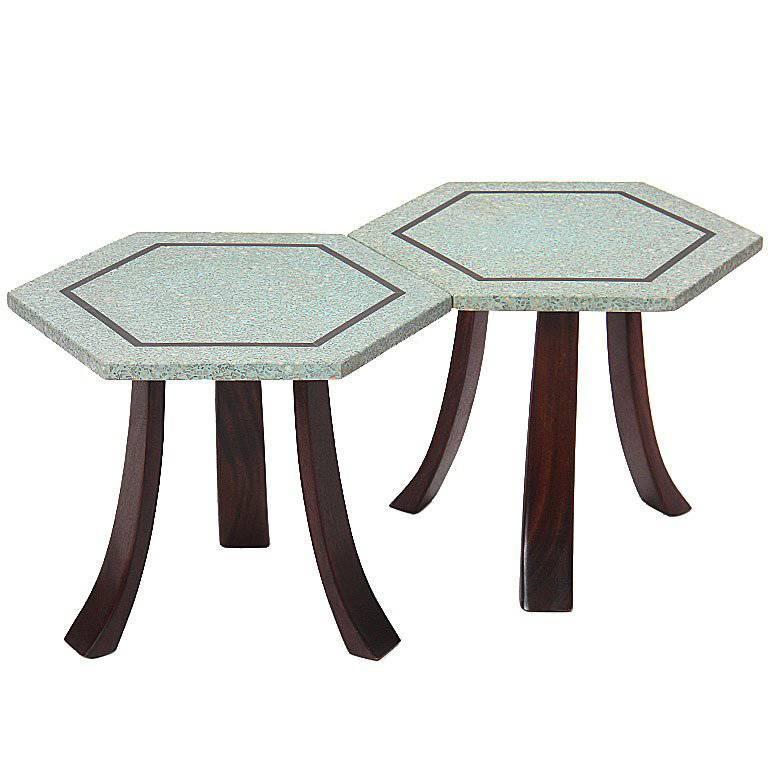 Terrazzo Hexagonal Tables by Harvey Probber