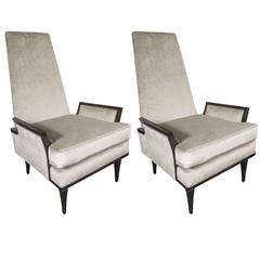 Pair of Mid-Century Highback Armchairs in Ebonized Walnut and Velvet by Karpen