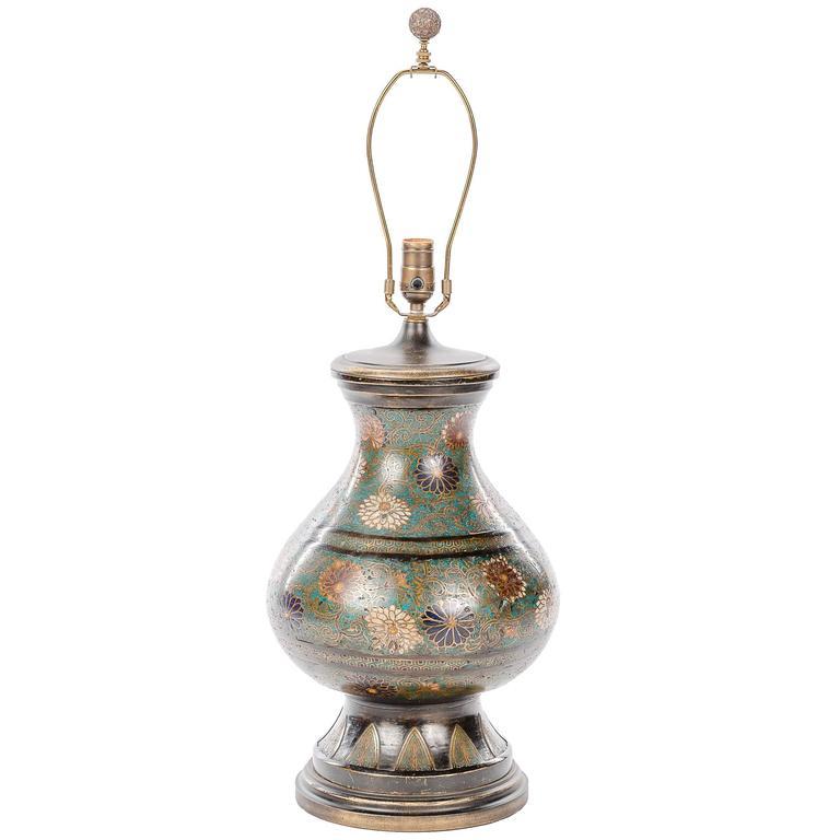 Antique Floral Cloisonne Vase Lamp