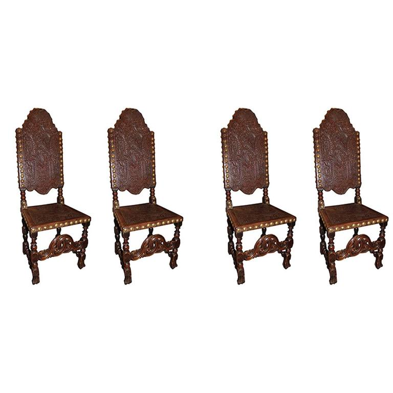 Set of Four French 19th Century Tooled Leather Louis XIII Style Wooden Chairs