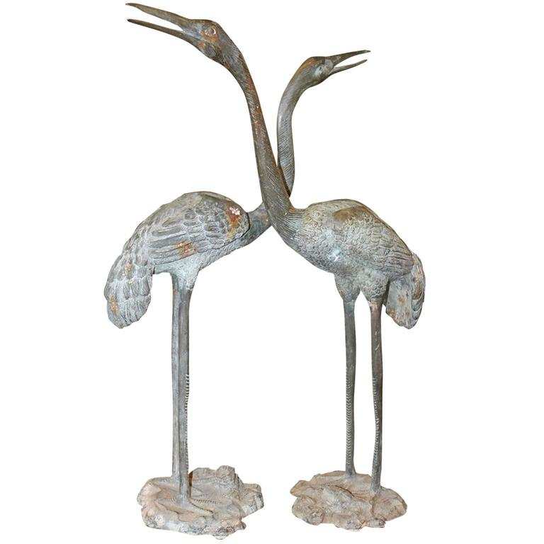 A Pair of Tall Bronze Crane Sculptures from the 19th Century