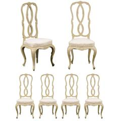 Set of Six Venetian Style Painted Dining Chairs from the Early 20th Century