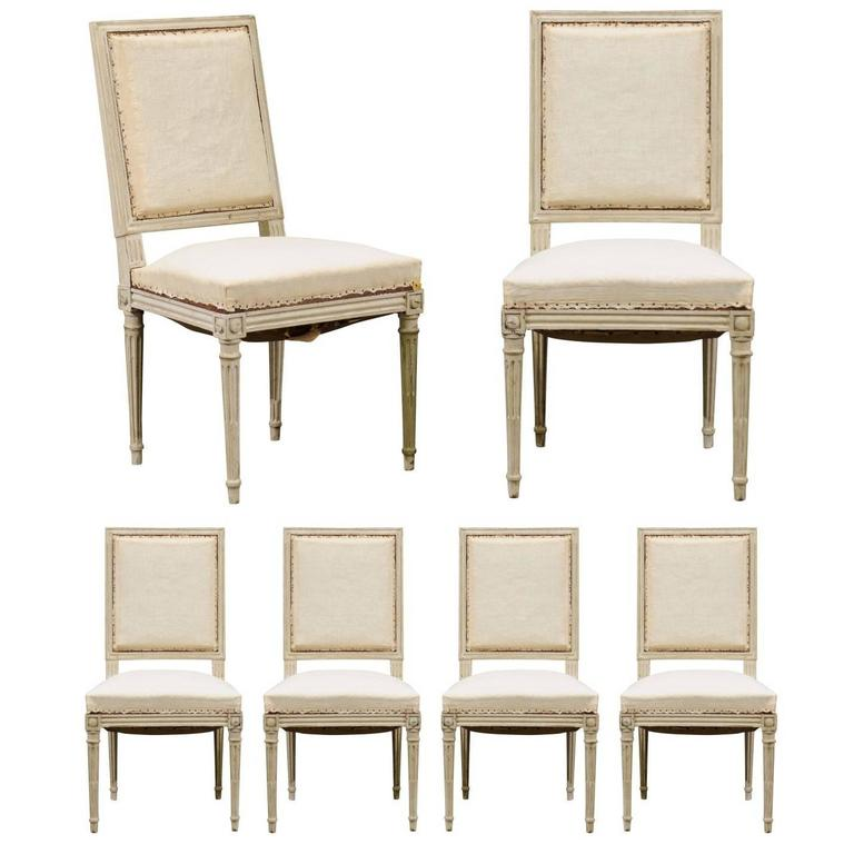 Set of six louis xvi swedish style dining room upholstered for Swedish style dining chairs