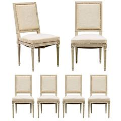 Set of Six Louis XVI Swedish Style Dining Room Upholstered Chairs from the 1900s