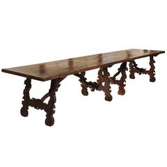 19th Century Catalonian Dining Table with Baroque Style Lyre Legs