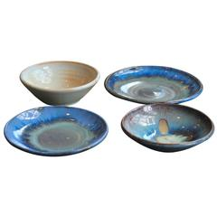 """Four James """"Mac"""" McConnell Anderson Shearwater Pottery Plates"""
