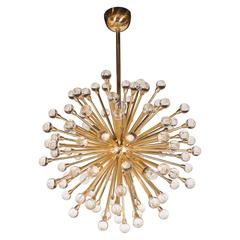 Modernist Murano Sputnik Chandelier in Brass with Handblown Crystal Orbs