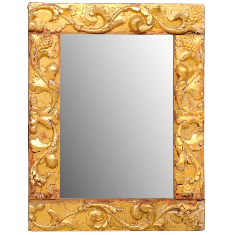 Exquisite Italian Giltwood Carved Mirror of 19th Century Italian Fragments For Sale