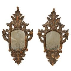 Pair of Italian 18th Century Rococo Style Antiqued Mirrors with Gilding & Patina