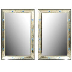 Pair of Large Mirrors with Antiqued Borders Adorned with Blue Glass Squares