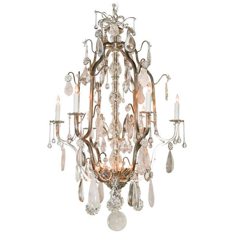 French Nickel And Rock Crystal Chandelier At 1stdibs