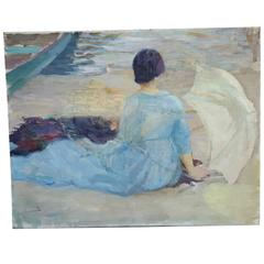 "Edward Cucuel Oil Sketch ""At the Shore"""