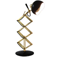 Retro Folding Table Lamp in Glossy Black Finish and Gold Plate Structure