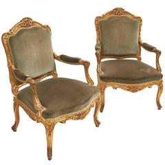 Pair of Louis XV Style Giltwood Armchairs, France, circa 1900